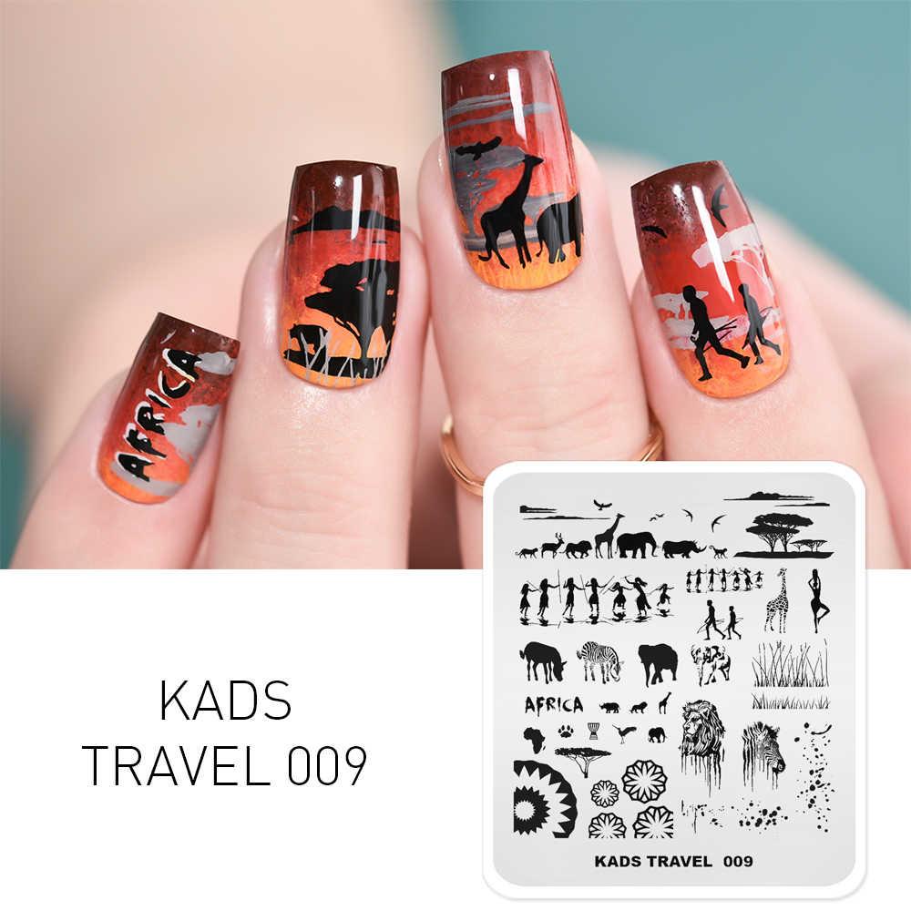 KADS Nail Art Stamping PLATE ZEBRA ช้างสิงโตคนรูปแบบเล็บแม่แบบ Stencil สำหรับเล็บเครื่องมือความงาม