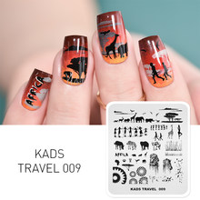 Kads Nail Art Stempelen Plaat Zebra Olifant Lion Tribal Mensen Patroon Nail Template Image Stencil Voor Manicure Beauty Tools(China)