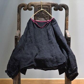 Blusa de lino de primavera 2020 para mujer, blusa Retro de Color sólido Retro de manga acampanada, camisa de talla grande, Tops, camisa de lino de verano