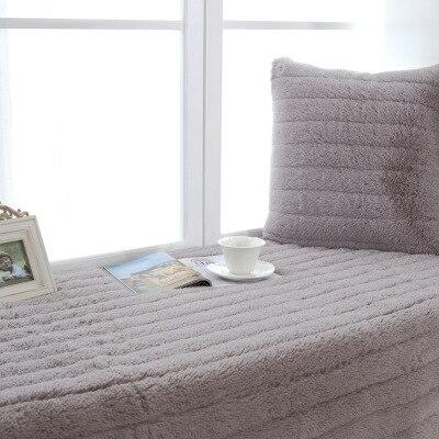Winter Thick Plush Bay Window Mat, Solid Color Plush Tatami Non-slip Cushion