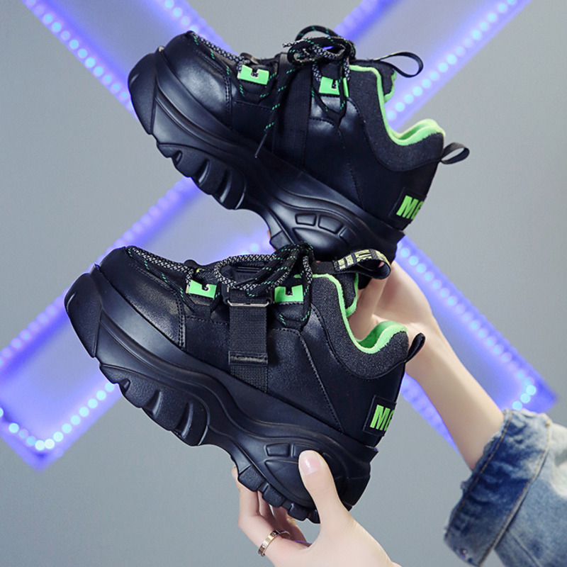 Winter Chunky Sneakers For Women Fashion Ladies 7cm Wedges Designer Dad Casual Shoes Woman Leather Sports Platform Sneakers 2019