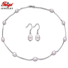 High Quality 925 Sterling Silver Chain Necklace And Earring Jewelry Sets AAA Natural Freshwater Pearl Choker Necklace For Women(China)