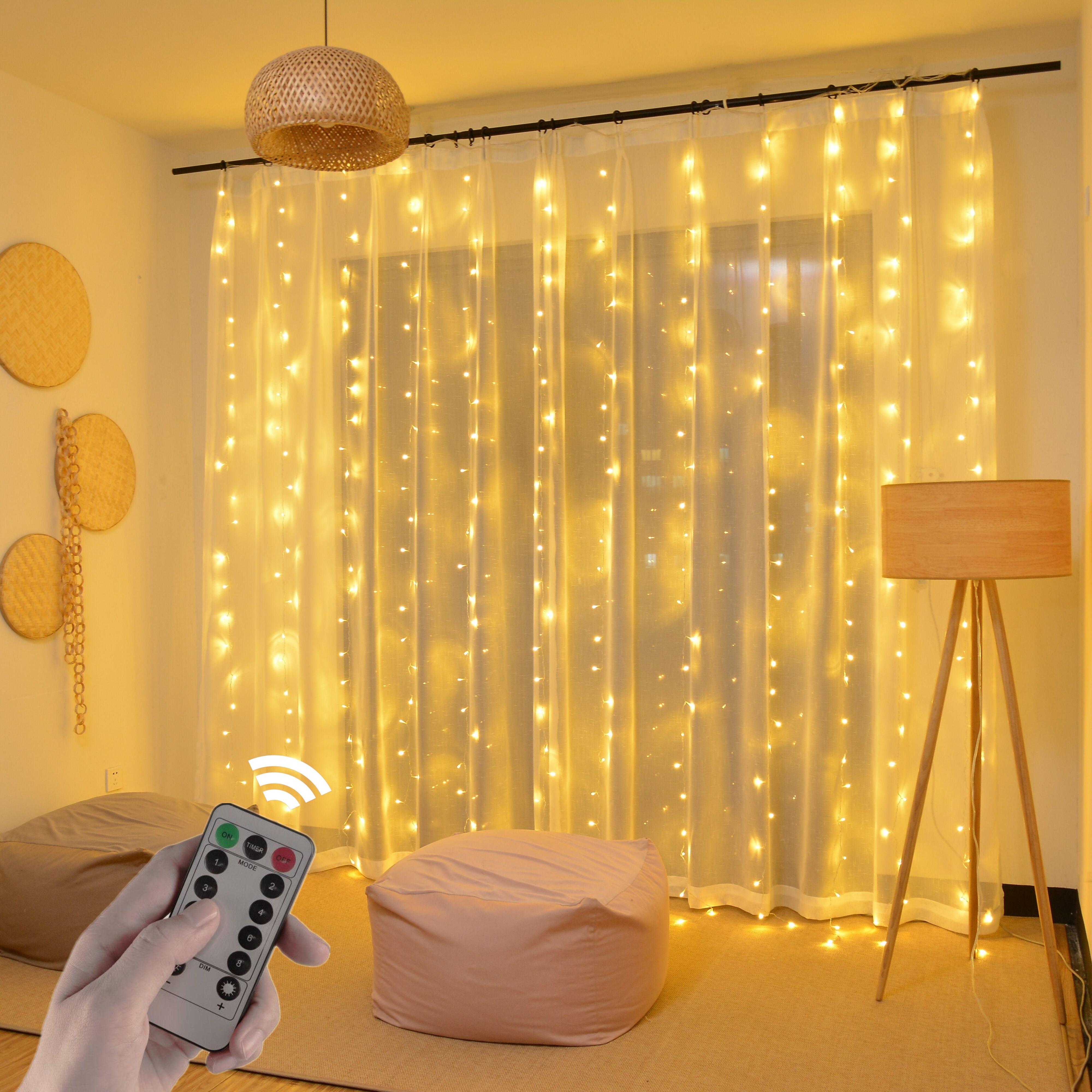 3m led cortina luzes da corda usb controle remoto festão festão guirlanda na janela ano novo decorações de natal para casa ao ar livre