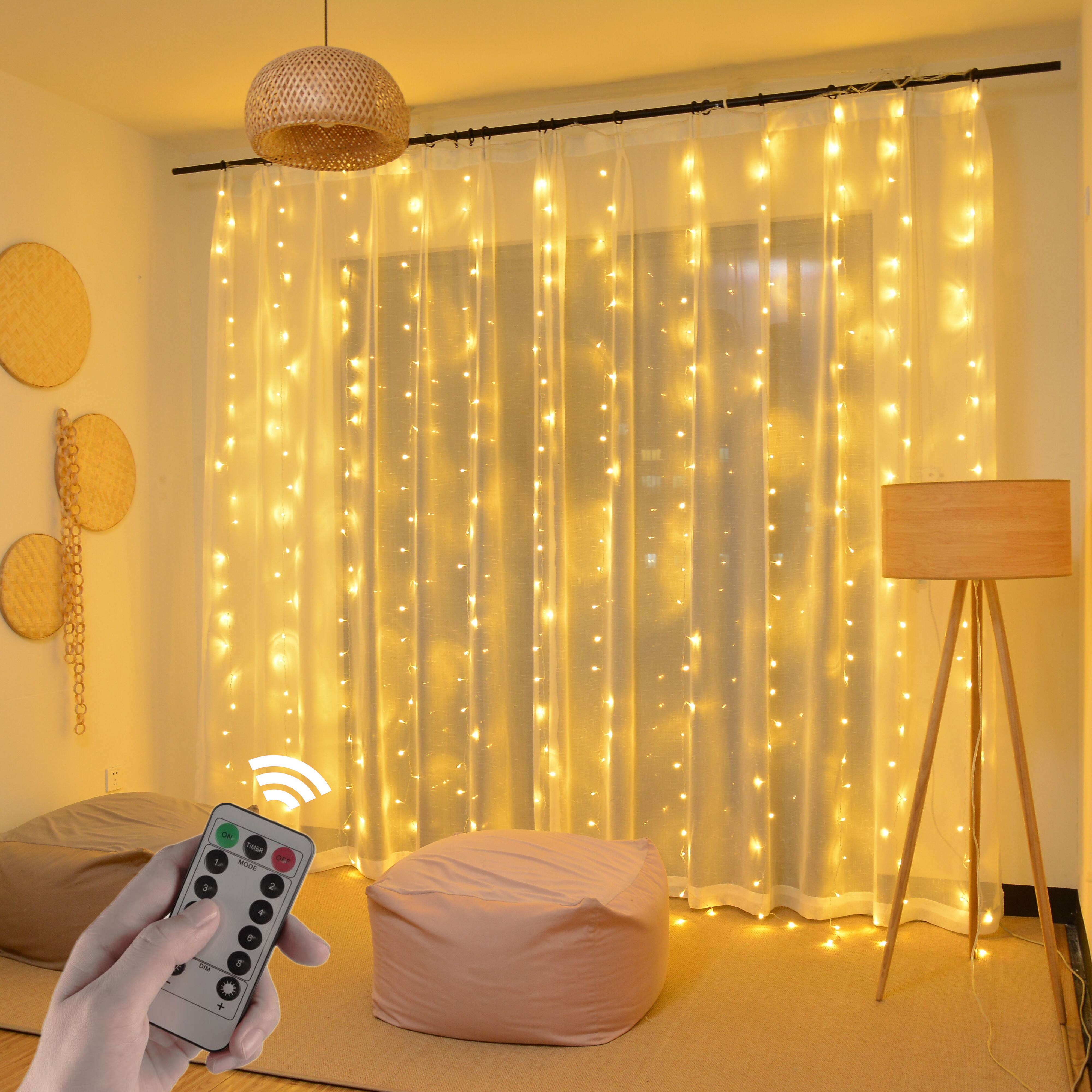 3m 2m LED Curtain USB String Lights Remote Control Fairy Garland on the Window New Year Christmas Decorations for Home Outdoor