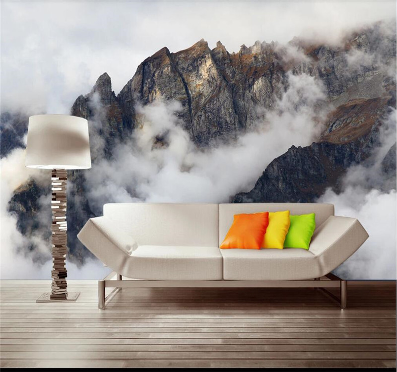 Customized Wallpaper Beautiful Atmospheric Mountains Theme Space Background Wall Painting-high-end Waterproof Material