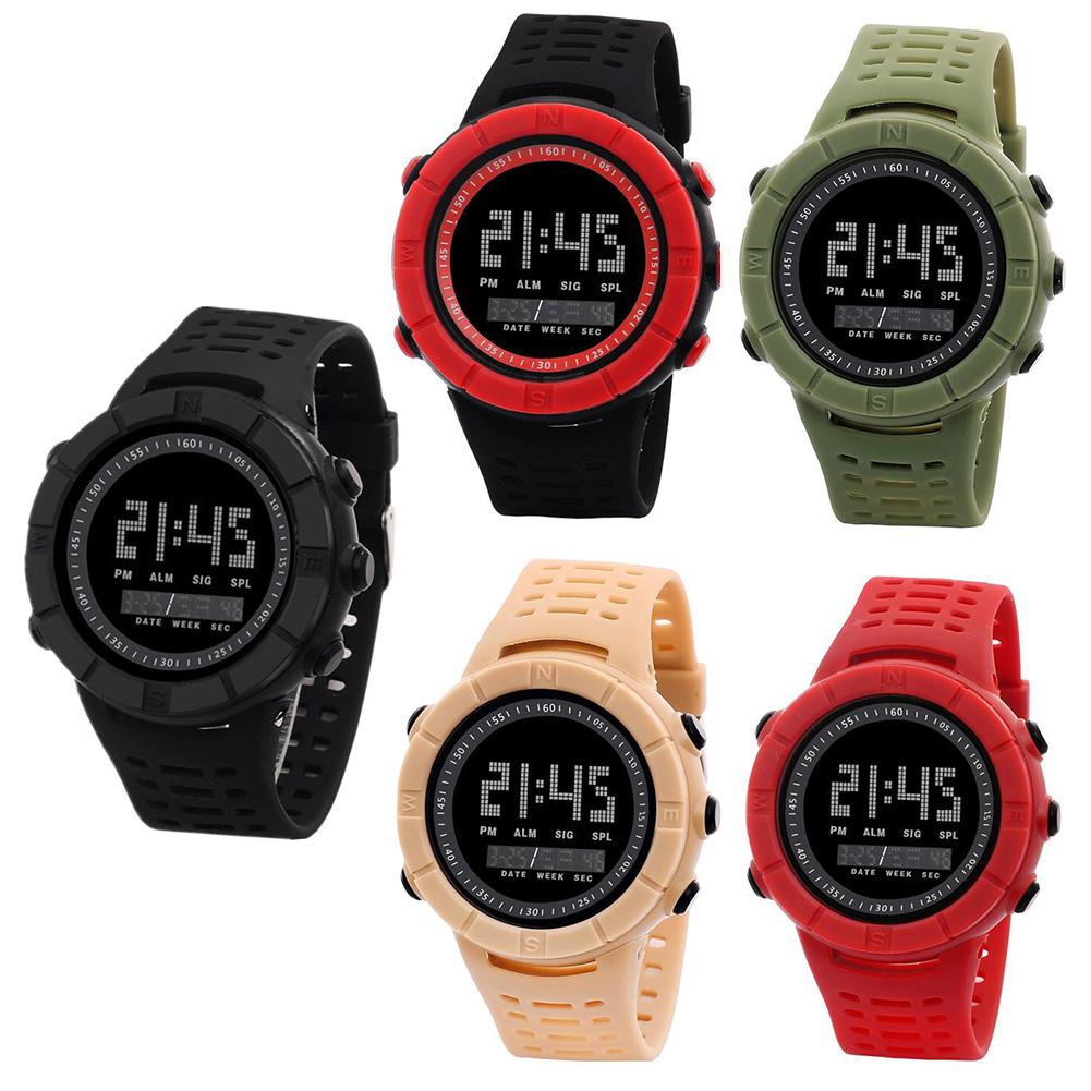 Men Watches Adjustable Multi-function Fashion Waterproof Student Round Dial Outdoor Sport Watch Digital WristWatch Gift Relojes