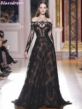 цена Black Laces Evening Dress Appliques Luxury A-line Sweep Train Long Sleeves Boat Neck Off Should Prom Dresses коктейльные платья онлайн в 2017 году