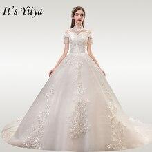 It's YiiYa Wedding Dresses 2020 Hight Collar Beading Tassel Wedding Dress Elegant Plus Size Lace Long Vestido De Novia TD37