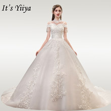 It's YiiYa Wedding Dresses 2020 Hight Collar Beading Tassel Wedding Dress Elegant Plus Size Lace Long Vestido De Novia TD37(China)
