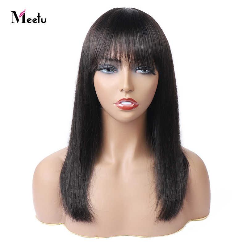 Reuniu peruca reta com franja, peruca de cabelo humano borgonha com franja 99j com cabelo humano colorido para mulheres