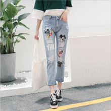 Printed Mickey Mous Jeans Distressed Ripped Boyfriend For Women Plus Size Destroyed Denim Harem Pants Youth Female