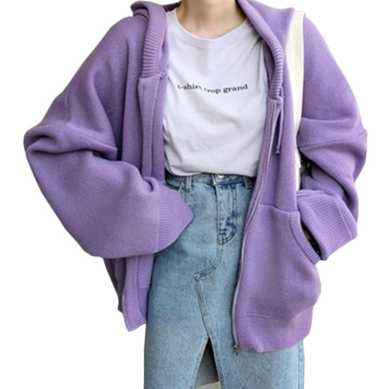 Fashion Loose Sweater Woman 2018 New Autumn Simple Solid Color Hooded Knit Cardigan Elegant Bat Sleeve Long Cardigan Coat X9203