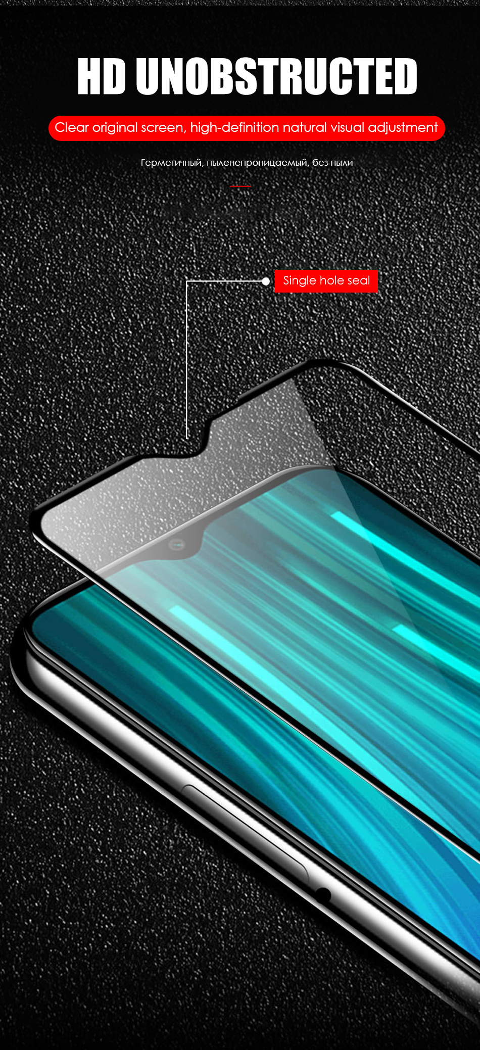 2 in 1 HD Full Protective Clear Screen Tempered Glass Lens For Xiaomi Redmi 7