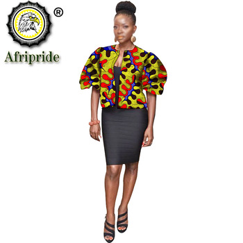 2020 african dashiki design clothes for lady print Appliques with two pockets spring& summer women`s coat AFRIPRIDE S1924008 2020 african dashiki design clothes for lady print appliques with two pockets spring