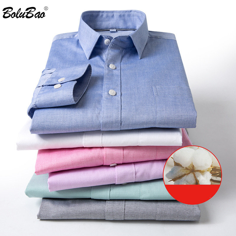 BOLUBAO Men's Casual Solid Shirt Men Twill Party Tuxedo Shirts Male Street British Style Long Sleeve Shirts Tops