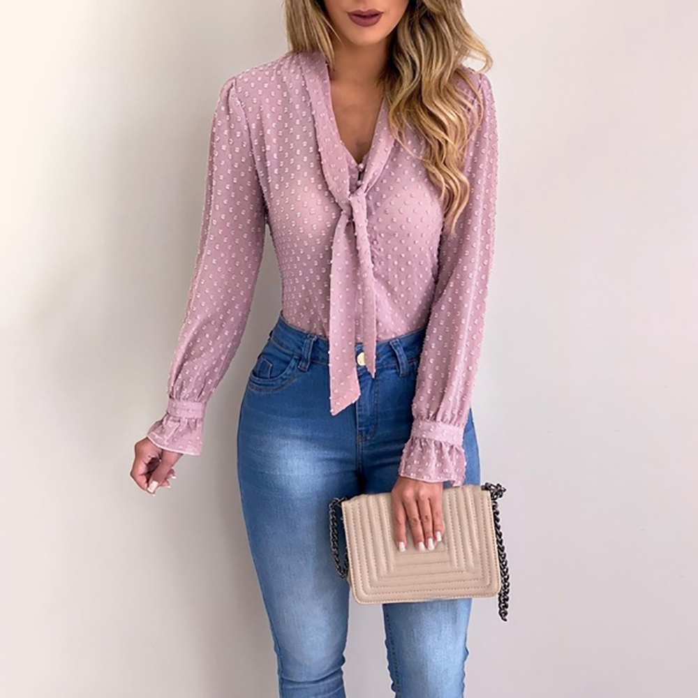 Dihope New Women 2020 Spring Fashion Long Sleeve V-neck Pink Shirt Office Blouse Slim Casual Tops Female Plus Size