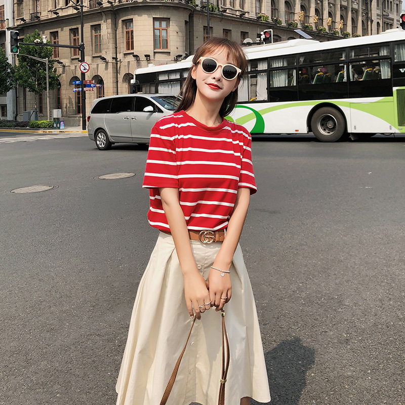 Customizable [dowisi] Korean-style 2018 Graceful Stripes T-shirt High Waist Skirt Two-Piece Set Summer F5090