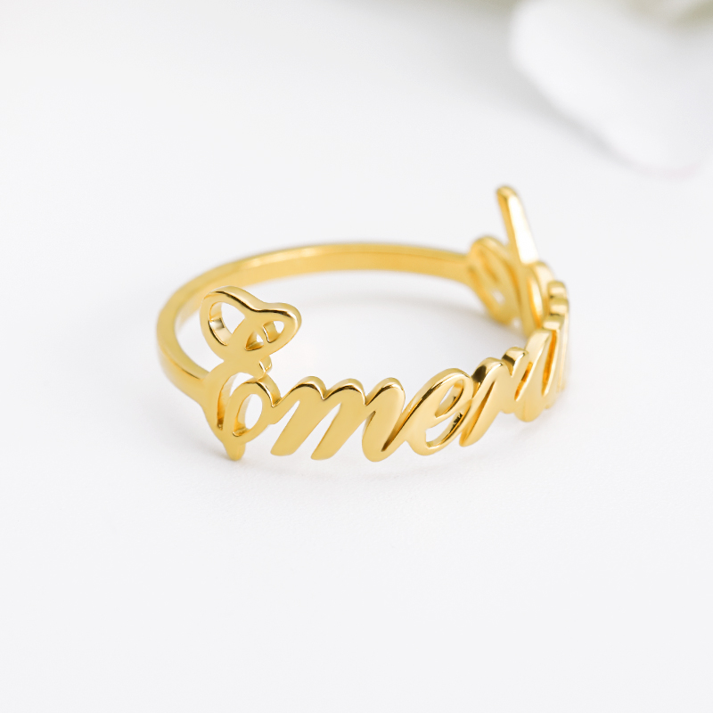 Custom Ring With Name Silver Gold Stainless Steel Customized Word Ring Personalized Bff Rings For Women Anillos Mujer Mom Gift