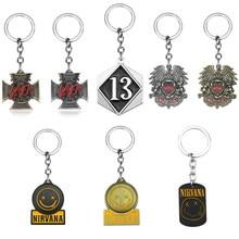 Porte-clés de groupe de Rock, porte-clé hexagonal numéro 13, Rock drôle Nirvana Smiley Face Slayer Logo reine bohème Rhapsody Logo