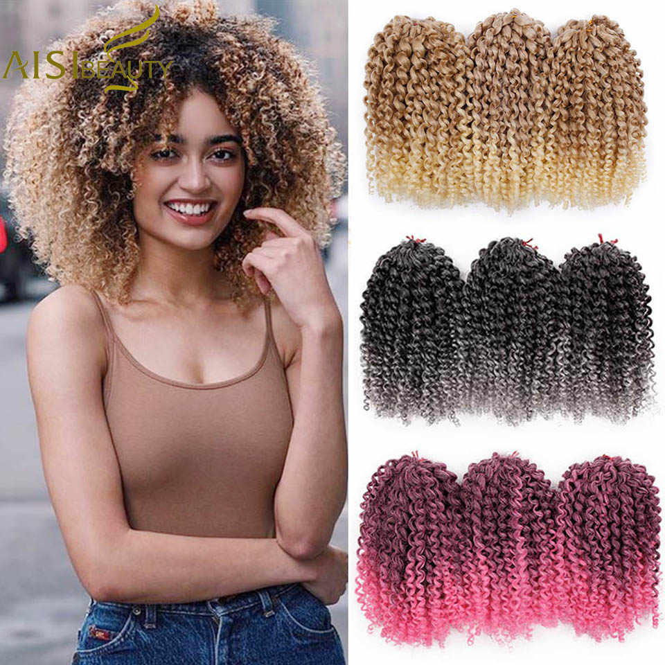 AISI BEAUTY 8inch 30g/pcs Marley Braids Ombre Crochet Braids Hair Synthetic Braiding Hair Extensions for Women Purple Black
