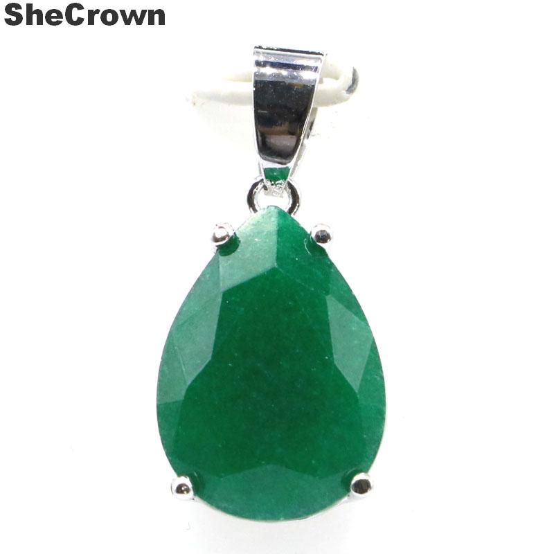 27x13mm Romantic Water Drop Shape 18x13mm Real Green Emerald Gift For Girls Silver Pendant