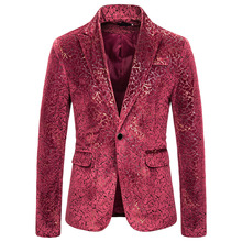 MJARTORIA 2019 Fashion Mens Large Size Floral Blazer Brand National Wind Navy Red Wine Slim Suit New
