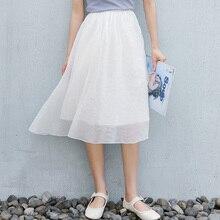 2020 Casual Solid Women Skirts Solid High Elastic Waist Chiffon Midi Skirts Female Bandage Skirt white solid color high neck high waist midi dresses