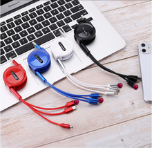 3 in 1 Charging Cable Mobile Phone Tyep C Charging Cord Retractable Micro USB Phone Cable with 3 Connectors