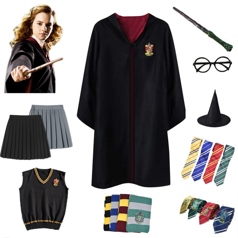 Gryffindor Robe Hermione Granger Cosplay Costume Halloween Wizard With Tie Scarf Ravenclaw Hufflepuff Slytherin Potter Cape Gift