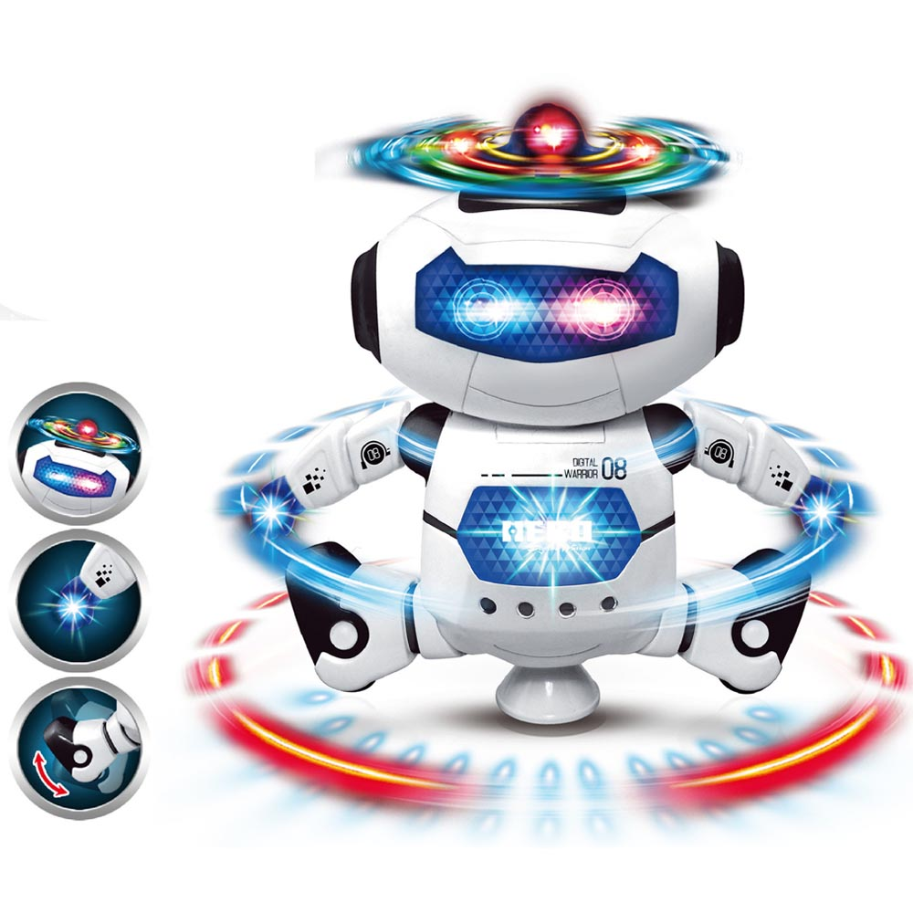 360 Degree Rotating Smart Space Dance Robot Walking Toy With Music LED Light For Children Gifts Electronic Astronaut Dance Toys