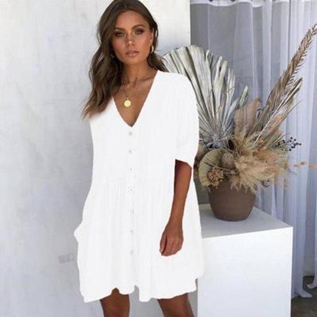 Baggy V-Neck Short Dress Button-Up Front 5