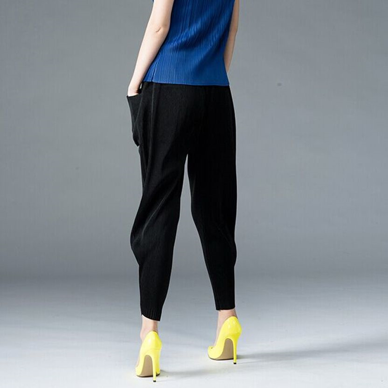 Pleated Loose Spring And Autumn Slim Casual Harem Pants Pocket Pants Nine Points Women's Issey Miyake Please Pleated  Pants Female