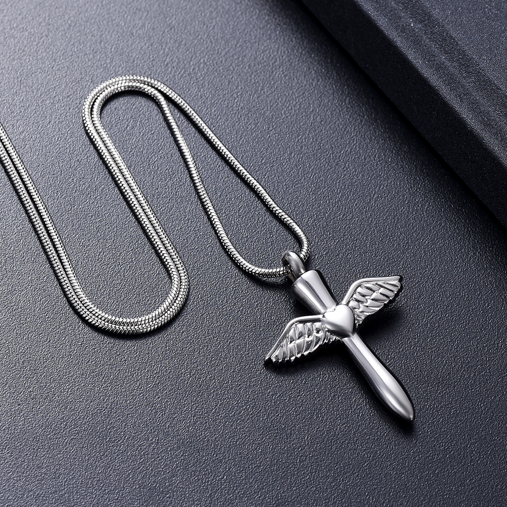 IJD12240 Stainless Steel Angel Wings Heart Cross Cremation Jewelry Pendant for Pet/Human Memorial Ash Keepsake Necklace 6