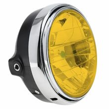 1pc Yellow Motorcycle Round Headlight Headlamp 7 Inches 35W Universal Clear Glass Lens Beam Lamp Light car accessories