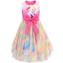 цены Toddler Baby Girls Princess Dress Elsa Anna Summer Rainbow Color Mesh Tutu Party Birthday Dress Children Costume Kids Clothes