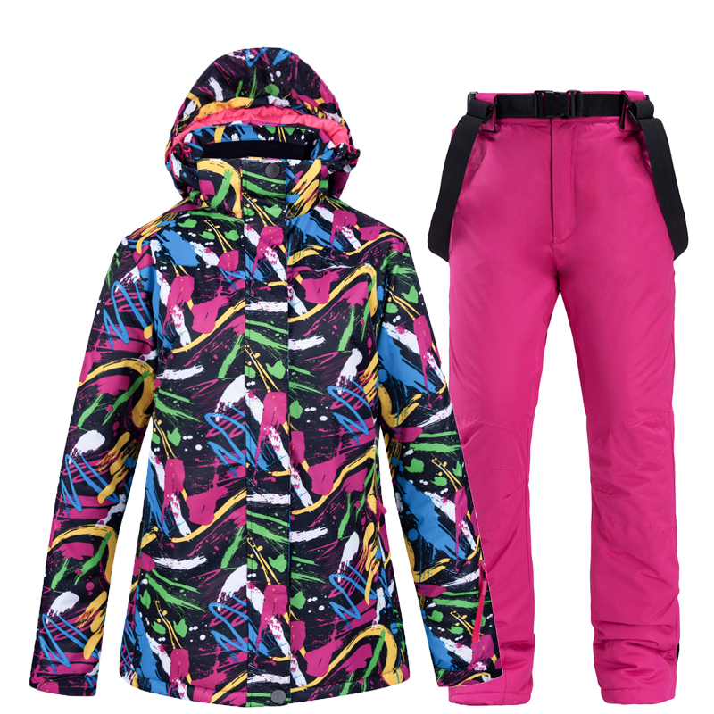 Cheap Women's Snow Wear Snowboarding Suit Sets Waterproof Windproof Winter Outdoor Coats Ski Costume Jackets + Strap Pants Bibs