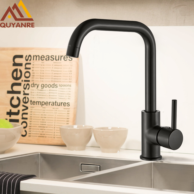 Quyanre Matte Black 360 Rotate Kitchen Faucets Stainless Steel Kitchen Mixer Tap Single Handle Hot Cold Water Crane For Kitchen