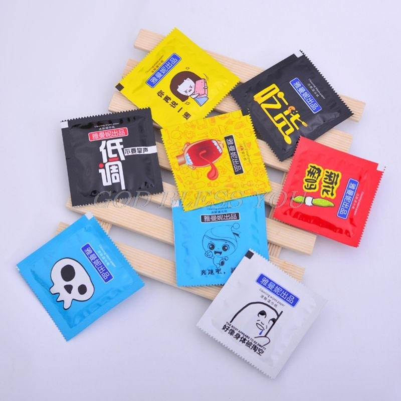 10Pcs Portable Cartoon Condom Shape Wet Wipes Tissue Individually Wrapped Aloe Essence Random Color