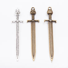 20pcs 67*15MM Antique Silver vintage bronze weapon sword sabre charms metal pendant for bracelet earring necklace diy jewelry(China)