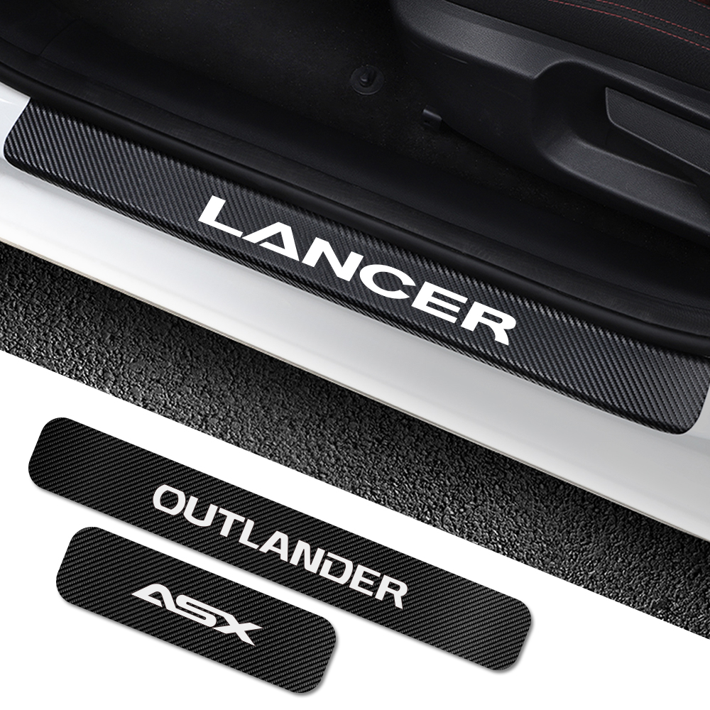 For Mitsubishi <font><b>Lancer</b></font> <font><b>10</b></font> 3 9 EX Outlander 3 ASX L200 Ralliart Competition 4PCS Car Door Sill Plate <font><b>Stickers</b></font> Tuning Accessories image