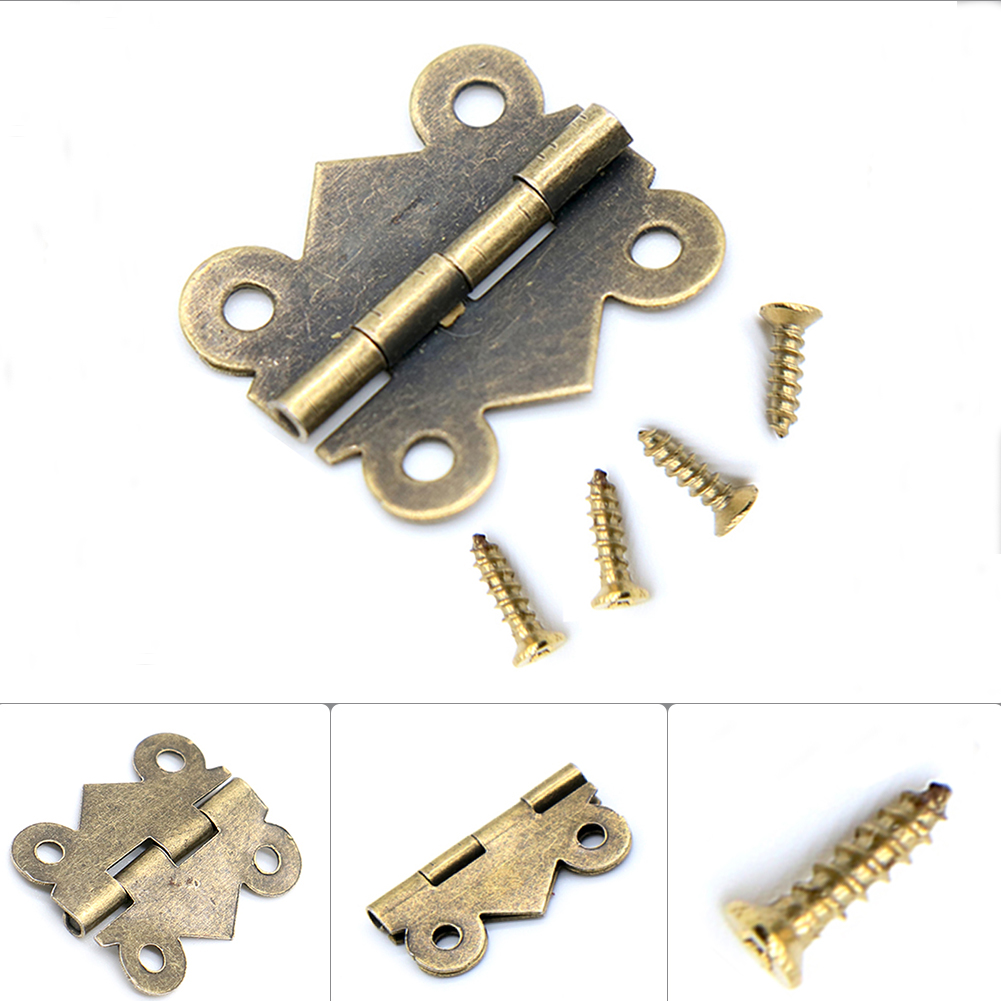 10pcs 180 Degrees Butterfly Door Hinge Mini Bronze Cabinet Drawer Iron Butterfly Hinges Retro Butt Hinges Jewellery Box Decorate