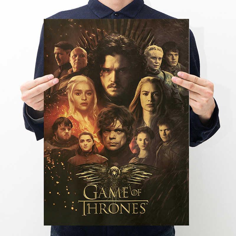 AIMEER znanych filmów ma mapie Jon Snow Daenerys Targaryen Lord Varys retro kraft plakat papierowy ścienne naklejka do wystroju malowanie 51*35cm