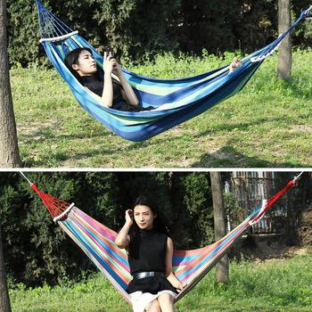 1pc Portable Hammock Outdoor Hammock Garden Sports Home Travel Camping Swing Canvas Stripe Hang Bed Hammock Red, Blue 260x 100cm image