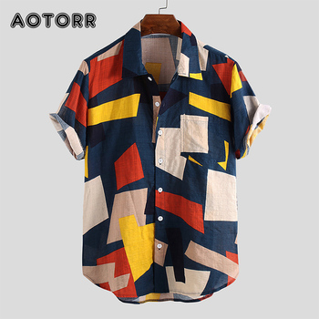 Summer Mens Shirts Cotton Linen Blouse Shirt Short-sleeve Button-down Print Loose Hawaiian Shirt Blouse Beach Undershirt Soft 1