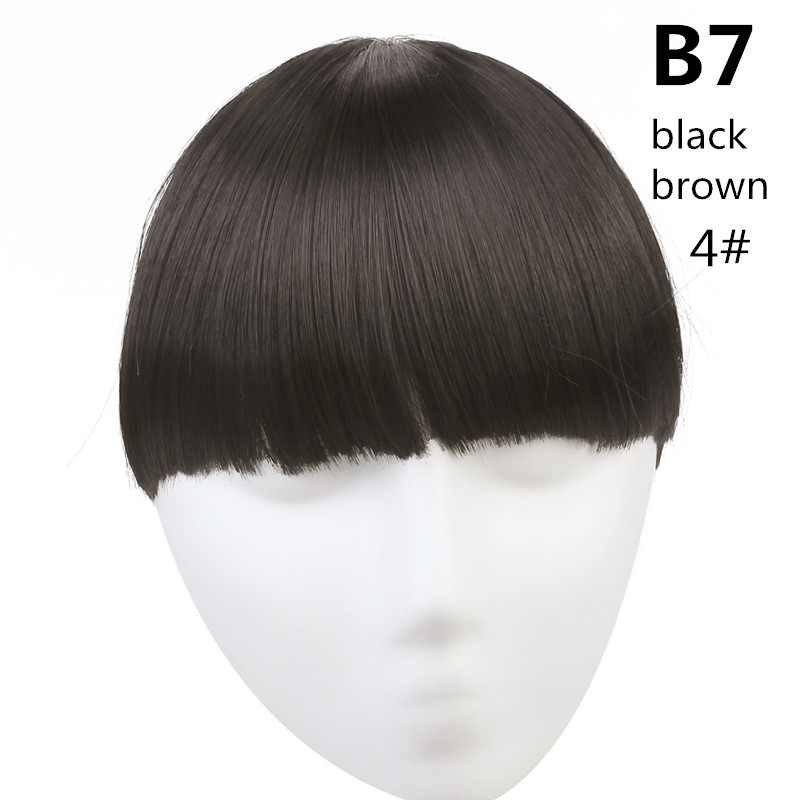 SARLA волосы челка клип в подметание боковая бахрома поддельные накладные взрыва натуральные синтетические волосы кусок волос черный коричневый B2 - Цвет: 4