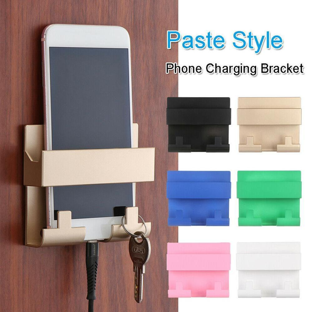 Mobile Phone Holder Stand For IPhone11 8 X Wall Mount Holder Adhesive Stand Portable Phone Wall Charger Hook Holder Hanging