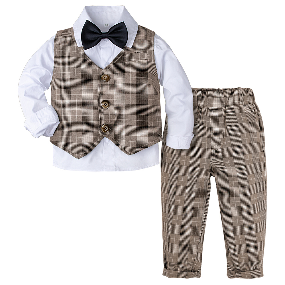 Mombebe Baby Boys Gentleman Romper Outfit with Bow Tie Long Sleeves 0-24 Months