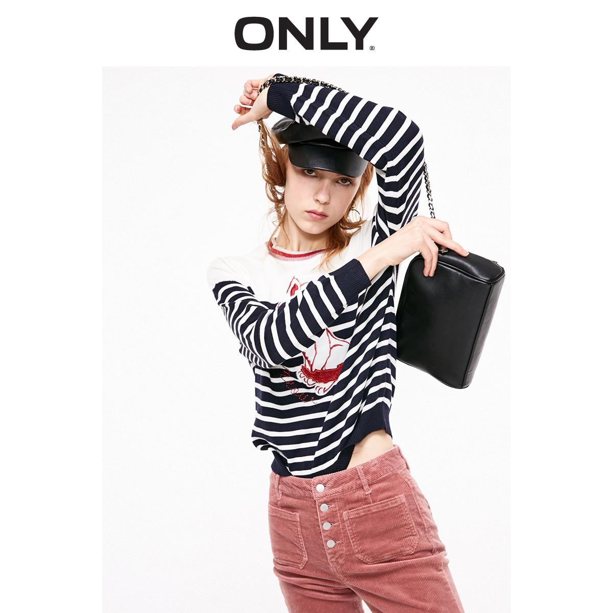ONLY Women's Cartoon Pattern Bright Yarn Spliced Stripes Pullover Knit Sweater | 119124516