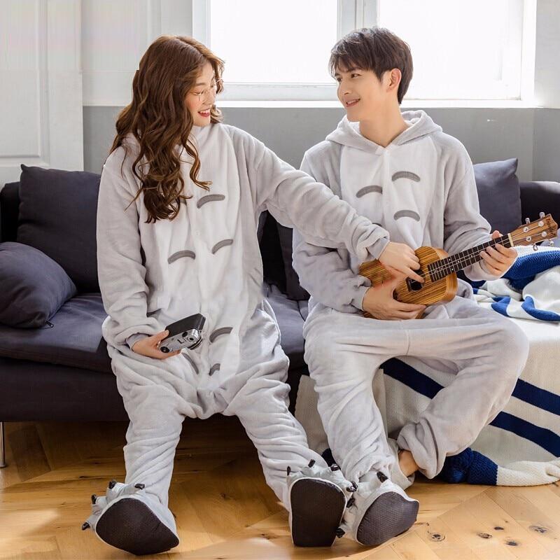 Unicorn Pajamas Adult Stitch Animal Pikachu Onesie Winter Sleepwear Men Women Couple Flannel Nightwear Home Clothes XL