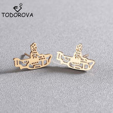 Todorova Stainless Steel Navy Submarine Stud Earrings for Women Kids Ocean Boat Ship Earrings Fashion Jewelry Party Gift(China)